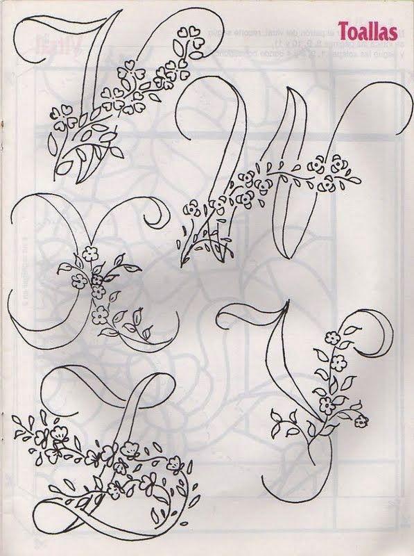 Bordado Passo a Passo: Risco de alfabeto para pintura e bordado com flores