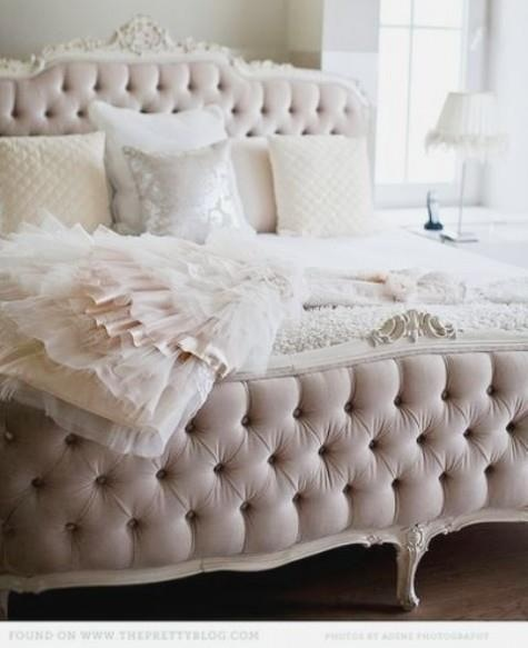 French bed frame. In this light pink color, white, or mink would look good in our room.