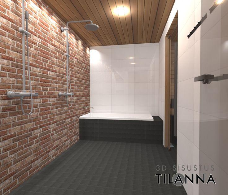 3D - sisustussuunnittelu / tiiliseinäinen pesuhuone ja sauna, punainen tiililaatta, lämpökäsitelty haapapaneeli, valkoinen laatta, rakenteisiin upotettu kylpyamme, bathroom / 3D-sisustus Tilanna, sisustussuunnittelija