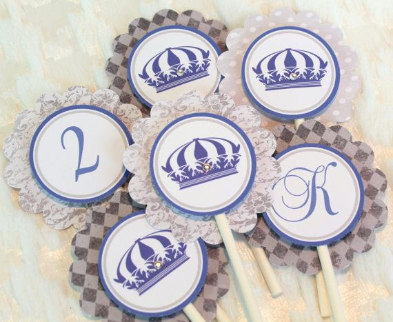 Set of 24 Royal Cupcake Toppers Prince Navy Blue Silver Birthday Party Theme Set  Prince Package