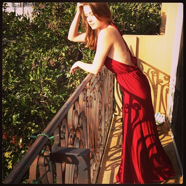 Sarah Bolger in Stone_Cold_Fox red Onyx gown