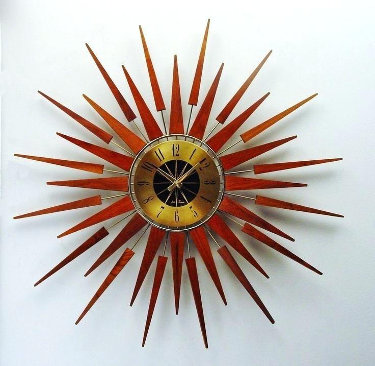 Retro Starburst Wall Clock Uk Pluto Gold