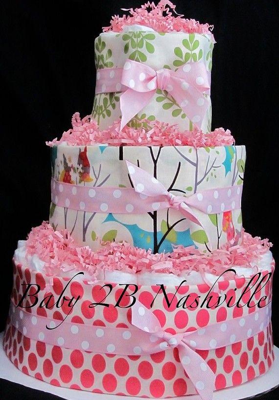 Girls Diaper Cake Little Owls by Baby2BNashville on Etsy, $85.00