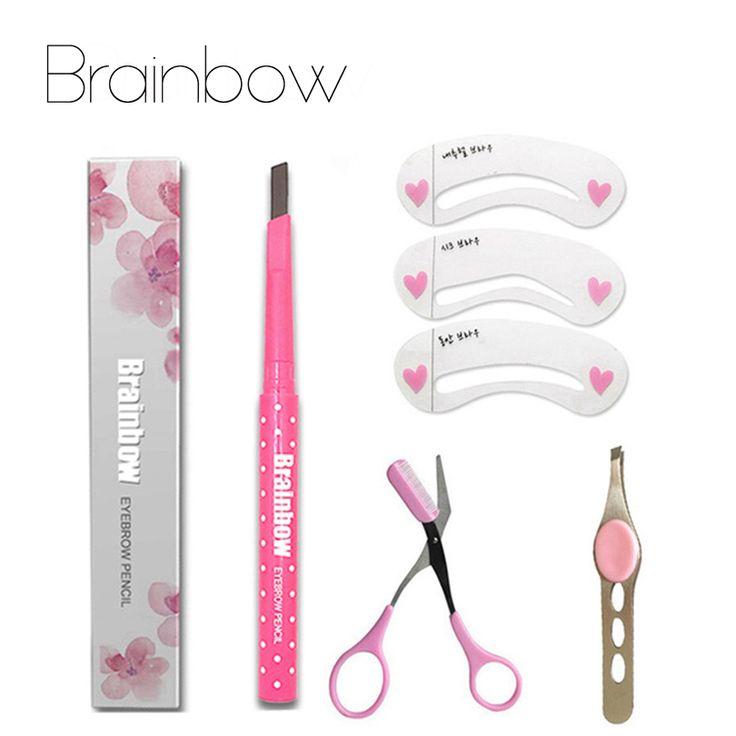 Brainbow Make Wenkbrauw Sets Wenkbrauwpotlood AutomaricEye Brow Liner + 3 Wenkbrauw Stencils + Borstel Scissor + Tweezer Kit gereedschap