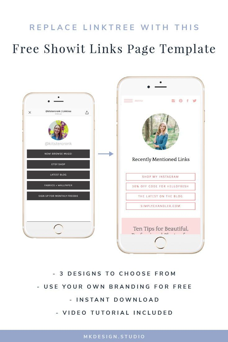 Free Showit Links Page Template How To Make Your Own Link Tree For Instagram In Showit Photography Website Design Showit Templates