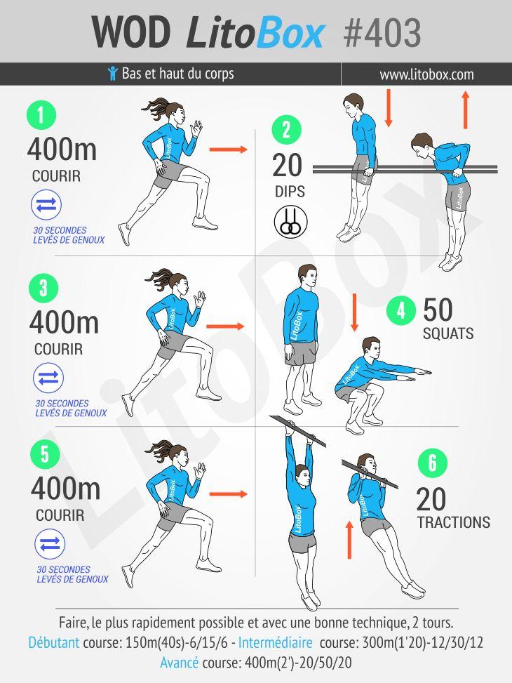 Exercices au poids du corps. Récupération : 400 m 1, 2, 3, courez !  Enregistrez cette épingle pour réaliser cet entraînement plus tard.  Bon courage et bonne journée.  Pierre.