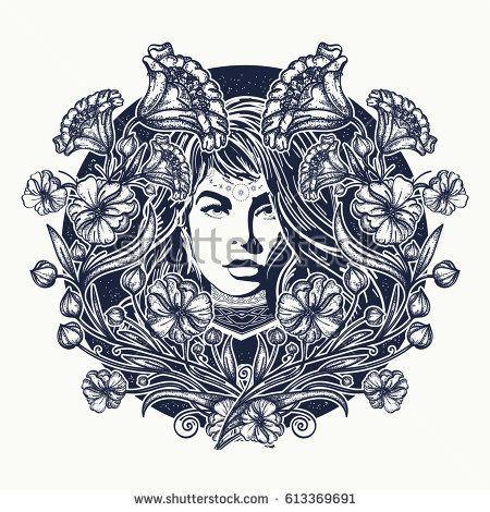 Alphonse Mucha Moon Tattoo