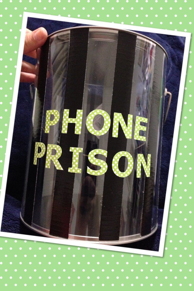 Phone prison I just made for my 7th grade classroom. All the supplies are from Michael's. All you need is the clear paint can, thin black duck tape and letters of your choice :)