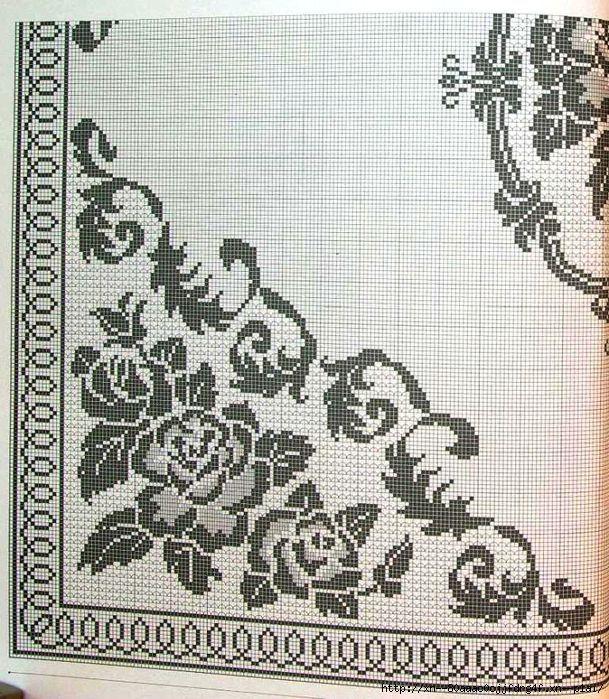 Скатерть. Розы в филейной технике. Обсуждение на LiveInternet - Российский Сервис Онлайн-Дневников