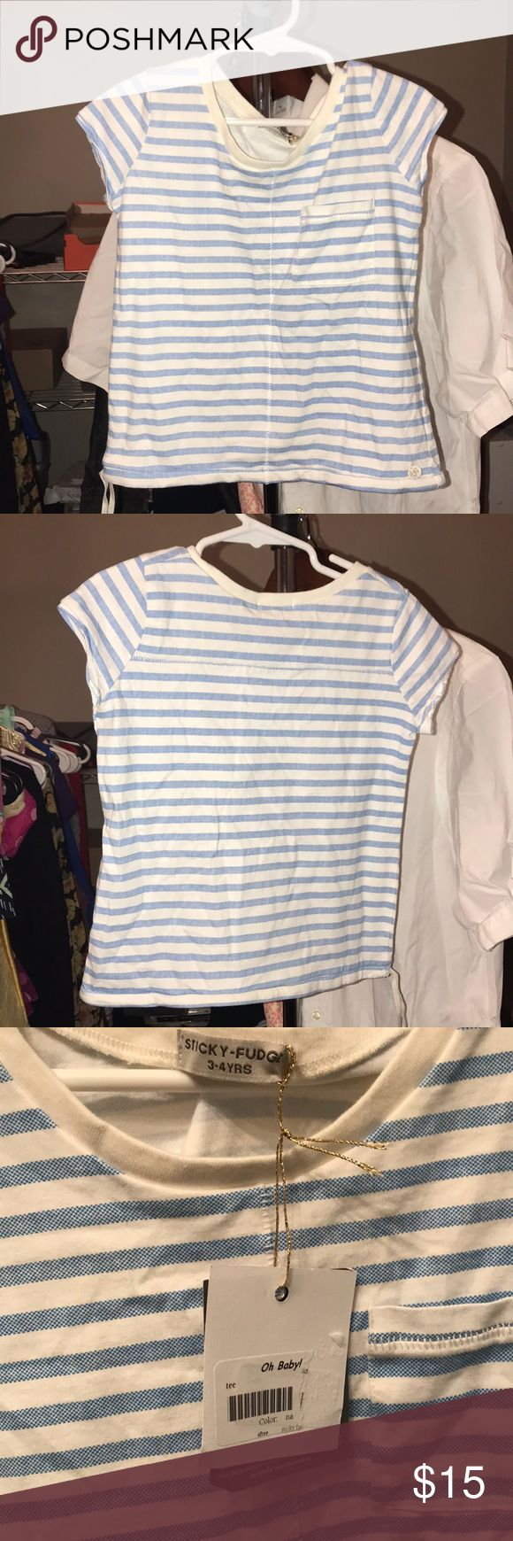 Sticky-Fudge Tailored Collection. Little Girls NWT- Blue and white stripes. Tailored Collection. Size 3-4years Sticky-Fudge Tailored Collection Tops Tees - Short Sleeve