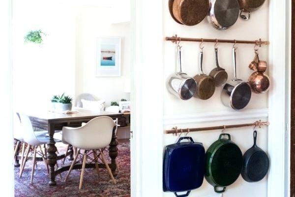 Hanging Pots On Wall And Pans Rack Design Galvanised Basket Brackets