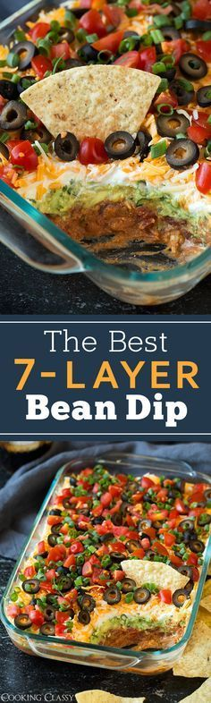 My favorite recipe for 7-Layer Bean Dip! Packed with flavor and always a crowd pleaser. Perfect game day food or party snack. (Mexican Dip Recipes)