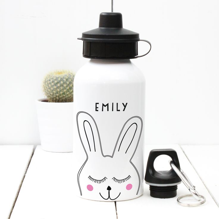 A Piece Of - Personalised 'Rabbit' Water bottle, £13.50, sport, gym, birthday, child, dad, mum, fathers' day, mothers' day, christening, baby shower, bottle, water, drink, present, party, gift,  (http://www.apieceof.co.uk/personalised-rabbit-water-bottle/)
