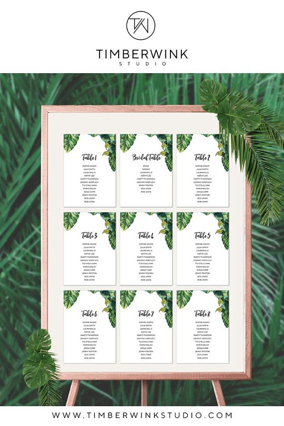 Tropical Wedding Seating Chart Diy Seating Chart Instant Download Printable Wedding Table Seating Tropical Palm Leaf Reception Seating Seating Chart Wedding Seating Chart Wedding Diy Seating Chart Wedding Planning