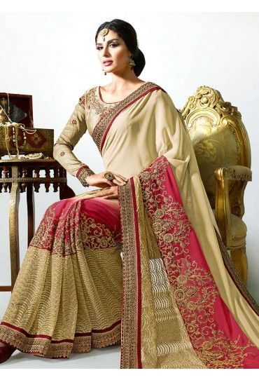 Beige N Red Ombre Embroidered Saree