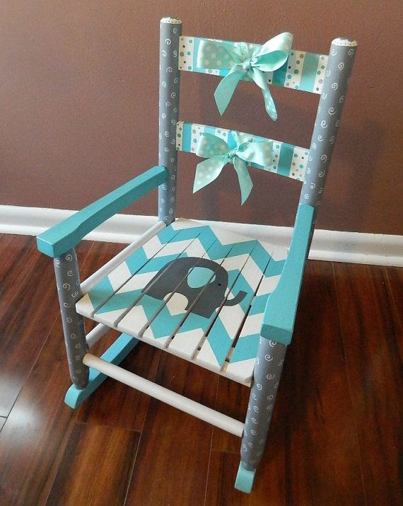 Hand-Painted Wooden Rocking Chair Nursery Elephant by ArtByGillian