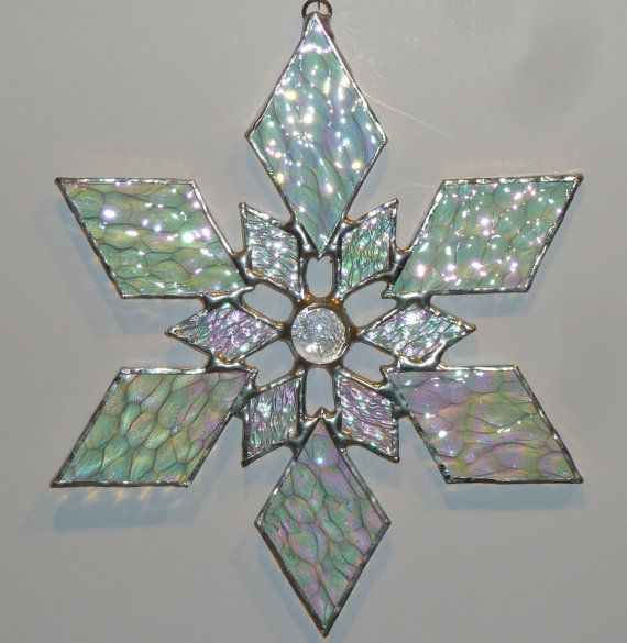 stained glass snowflake suncatcher design 1C by bitsandglassart