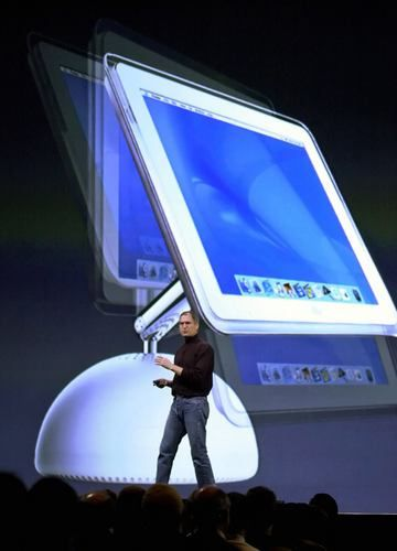 Flat Screen iMac    Steve Jobs introduces the new flat screen iMac at Macworld in San Francisco on Jan. 7, 2002.