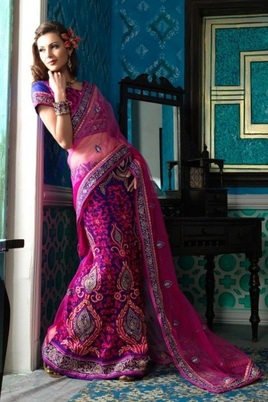 Old Fashioned Violets | Adorable dark pink and blue colour sequence work with heavy embroidery ...