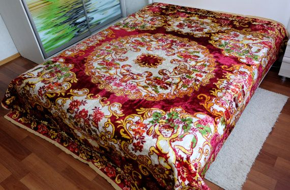 Vintage Bedspread red Italian bed cover with by MadeInTheUSSR
