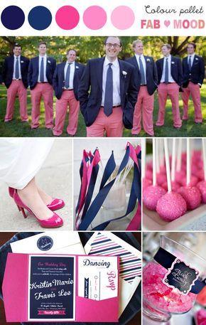 Love groom & groomsmen worn pink trousers! how sweet is that?navy pink wedding idea,navy pink wedding theme | fabmood.com