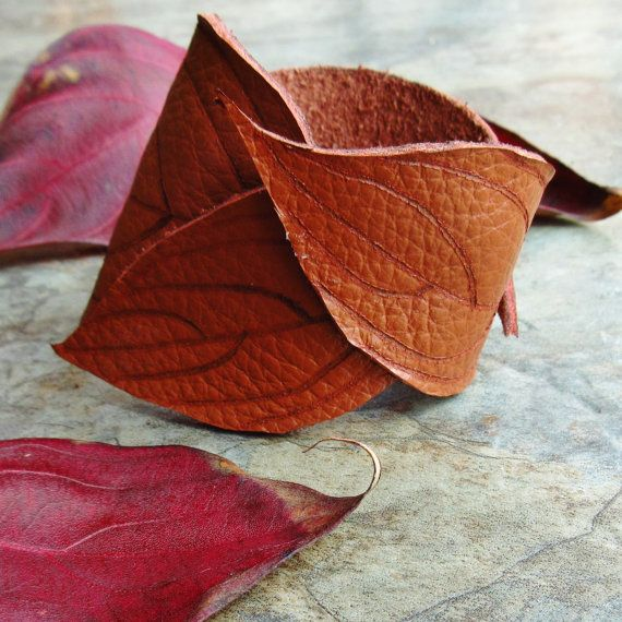 Leather Cuff Leaf Cuff Tooled Leather by laurelicottage on Etsy