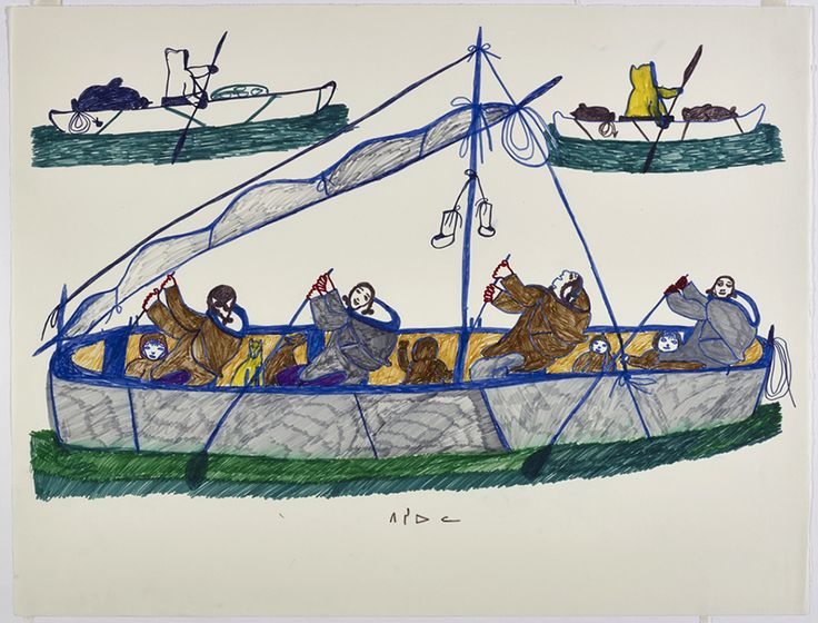 """Throughout her career, Pitseolak depicted groups of people travelling from one camp to another. Drawing for print """"Journey to Toodja,"""" c. 1973, Collection of the West Baffin Eskimo Co-operative Ltd."""