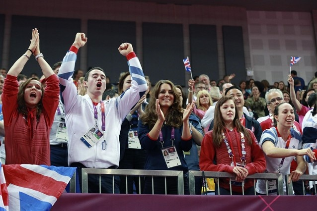 Kate Middleton, Duchess of Cambridge, cheers on Great Britain's gymnastics with the GB gymnastics team