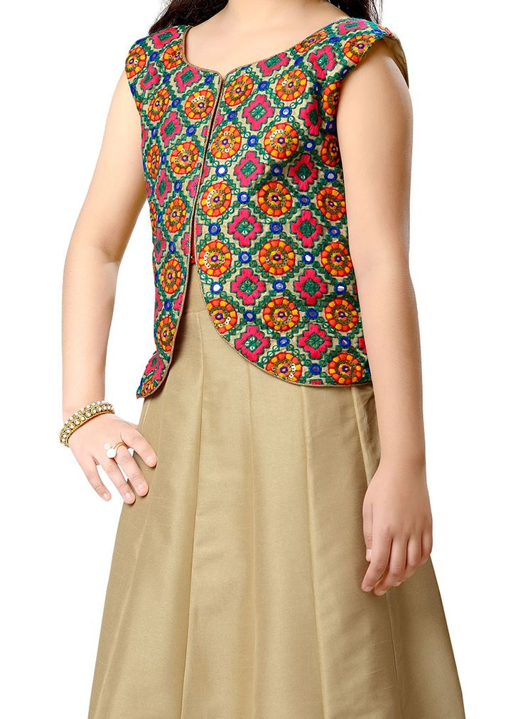 Blissful Beige K and U Kids Anarkali Suit