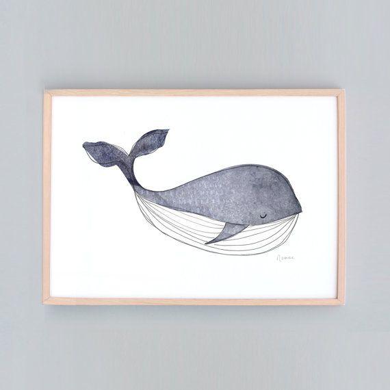 Petites et grandes Art Print pépinière de baleine Baby par honeycup