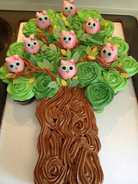 Cupcakes - decorated as one cake. Kerri made a similar one for Olive's 2nd Birthday