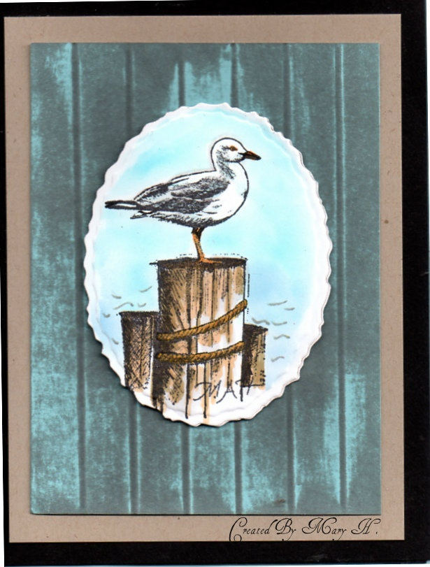 Card made by Mary Haverland. Wainscot background as done by Gina K. on Stamp TV video
