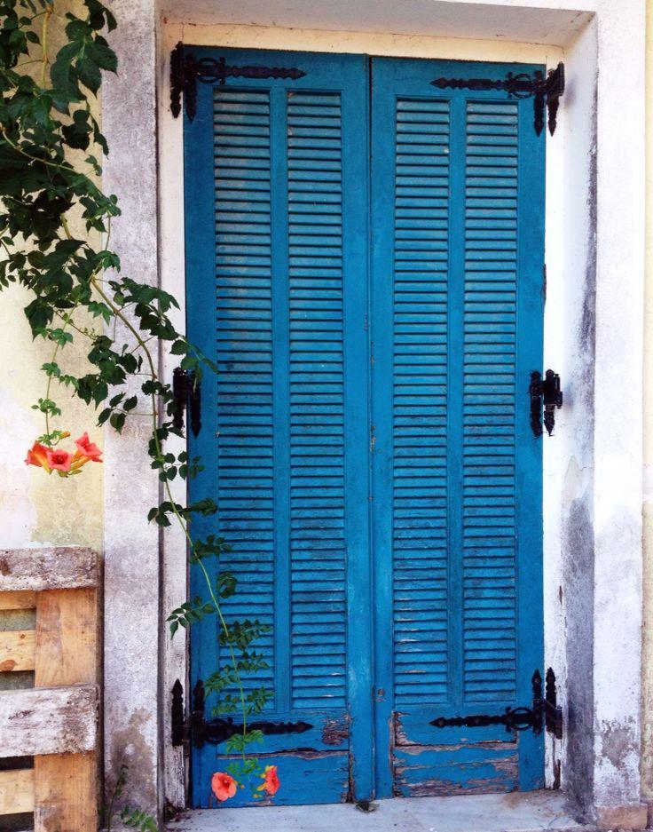 Blue rustic door, greek Island, Zakynthos