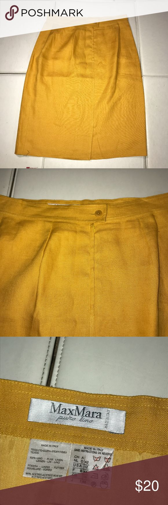 MAXMARA Pencil Skirt Yellow Size 12 100% Lino L Skirt is in very good condition. size 12 US. 100% Lino Linen. Please view all pictures and ask any questions before placing a bid. All sales are final. thanks for looking. MaxMara Skirts A-Line or Full