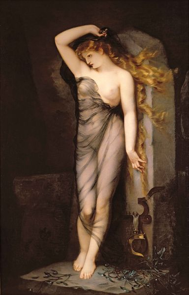 """""""Veleda"""" Charles Voillemot -  Veleda was a völva (priestess and prophet) of the Germanic tribe of the Bructeri who achieved some prominence during the Batavian rebellion of AD 69–70, headed by the Romanized Batavian chieftain Gaius Julius Civilis, when she correctly predicted the initial successes of the rebels against Roman legions.: Art Libraries, Voillemot 1833 1893, André Charles, Charles Voillemot, Andre Charles, Of Beauxart, Inspiration Muse, Beauxart De, Fine Art"""