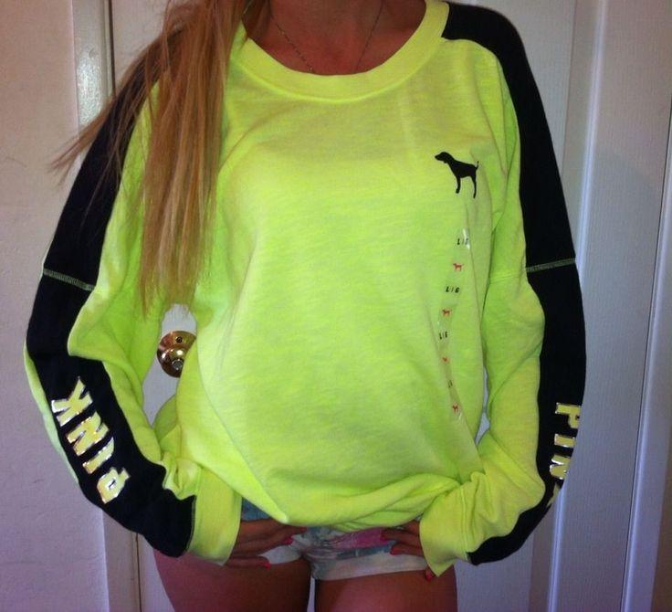 Victoria's Secret Love pink varsity CREW light wight pullover sweatshirt TOP LXL #VictoriasSecret #SweatshirtCrew