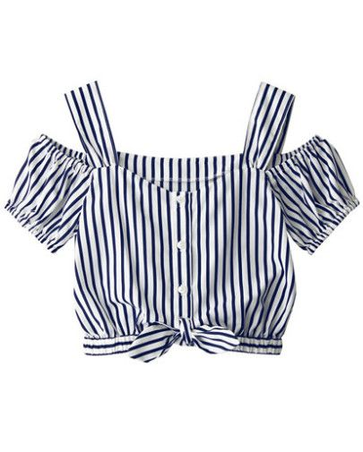 Blusa rayas verticales con tirante-azul-Spanish SheIn(Sheinside) Sitio Móvil