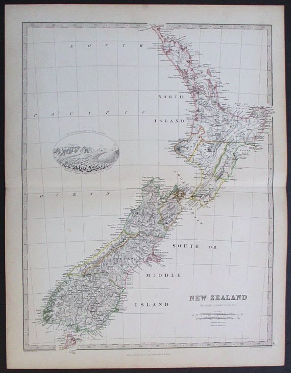1872 New Zealand Antique Map. Cook Strait Hawke Bay Stewart
