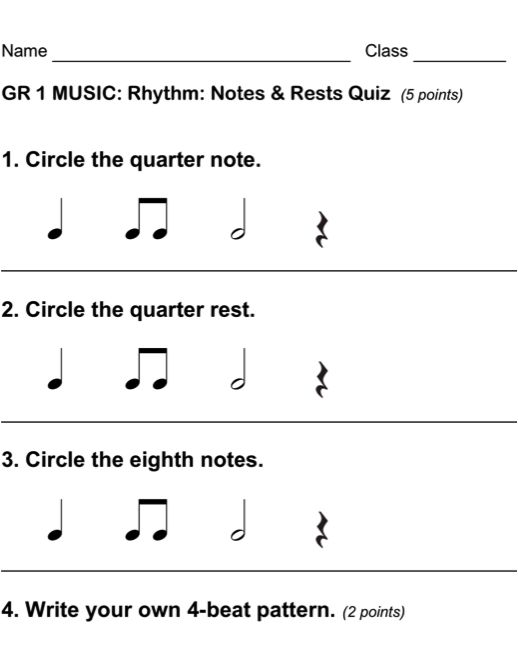 Beth's Music Notes - Excellent assessments for each grade level.
