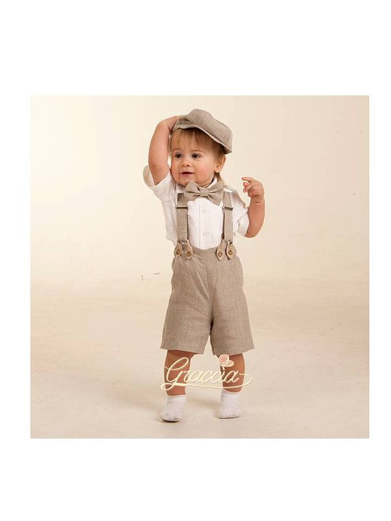 newsboy ring bearer outfit for baby boy - linen suit