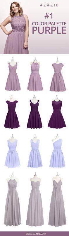 Azazie Purple Swatch Set (8 shades * 6 fabrics) - Bridesmaid dress, Wedding, Wedding gown, Lavender, Lilac, Dusk, Wisteria, Tahiti, Orchid, Regency, Grape, chiffon, mesh, lace