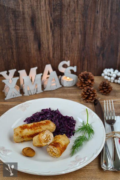 Weihnachtlich gefüllte Putenröllchen mit Apfel-Rotkohl I Stuffed christmas turkey rolls with apple-red cabbage I Sia´s Soulfood