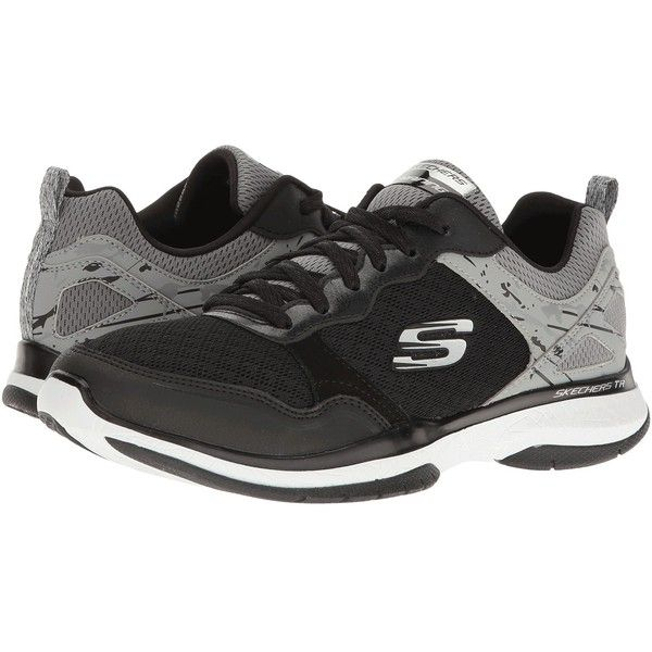 SKECHERS Burst TR (Black) Women's Shoes (133.970 COP) ❤ liked on Polyvore featuring shoes, athletic shoes, black laced shoes, rubber footwear, black athletic shoes, skechers footwear and skechers athletic shoes