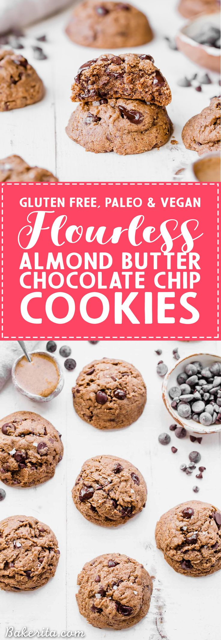 These naturally Flourless Almond Butter Chocolate Chip Cookies are so tender that they melt in your mouth! These flavorful cookies have just 5 ingredients and they are gluten-free, Paleo, refined sugar-free and vegan.