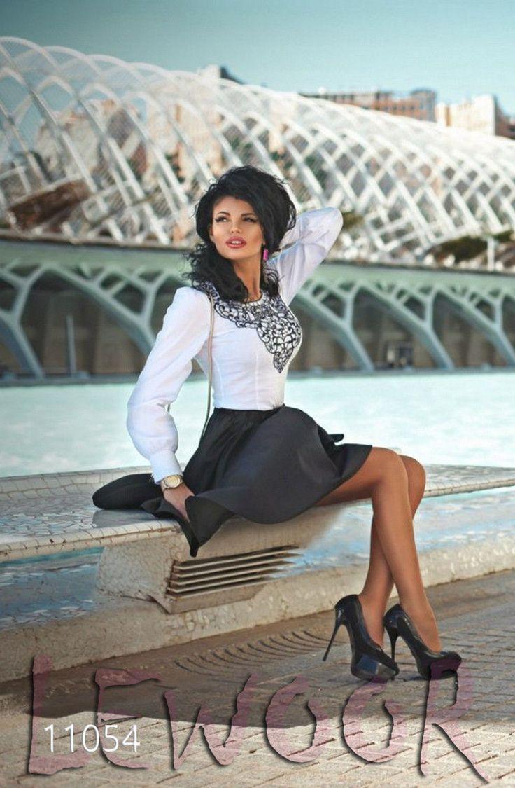 Ансамбль из блузки с юбкой, поплин и плащёвка - купить оптом и в розницу, интернет-магазин женской одежды lewoor.com