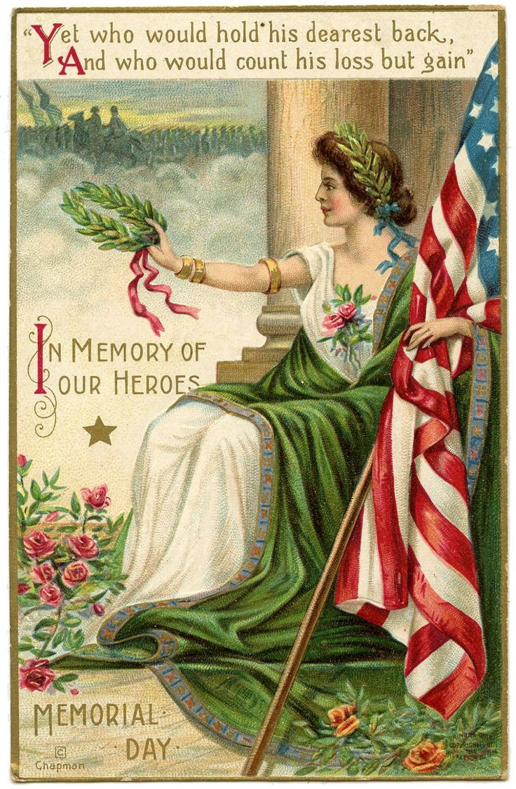 vintage postcards | Vintage Memorial Day Image - Lady Liberty 2 - The Graphics Fairy