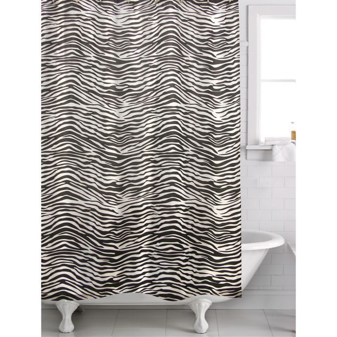 Famous Home Zebra Shower Curtain In Black White Curtains