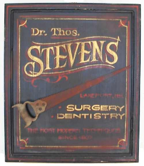 An old surgery and dentistry sign. Notice the saw? ;) I cant see the year however, but it looks like it says either 1608 or 1808. I think I may be wrong on that.