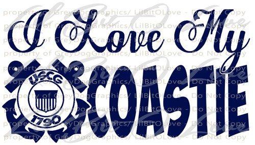 I Love My Coastie Vinyl Decal USCG Sticker United States Coast Guard   LilBitOLove - Housewares on ArtFire