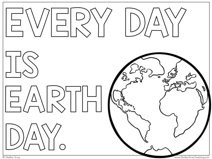 Free Every Day Is Earth Day Coloring Page And Writing Activity Earth Day Posters Writing Activities Earth Day Coloring Pages